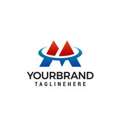 letter m tech logo design concept template vector image