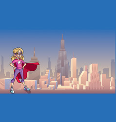 little super girl city background vector image