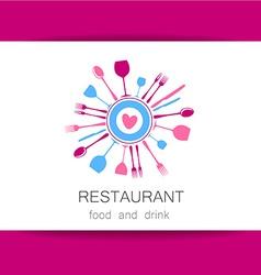 love restaurant logo identity vector image