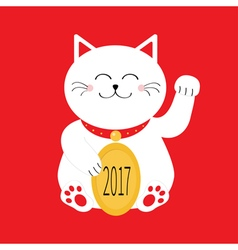Lucky white cat sitting and holding golden coin vector