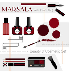 Marsala color beauty cosmetic icons set vector