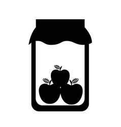 Mason jar with apples isolated icon vector