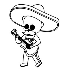 Mexican skull mariachi character vector