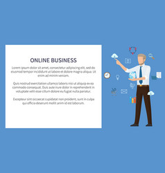 online business poster color vector image