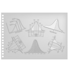 Paper art collection of normal distribution or gau vector