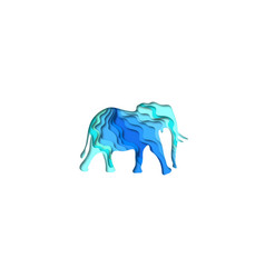 paper cut elephant safari animals shape 3d vector image
