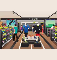 People shopping for shoes in a sporting store vector