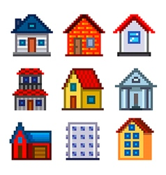 pixel houses for games icons set vector image
