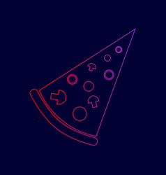 pizza simple sign line icon with gradient vector image