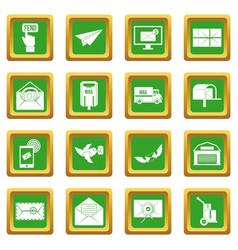 Poste service icons set green vector