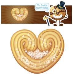 Puff pastry heart cookie cartoon vector