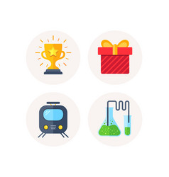 railway transport gift box and winner cup icons vector image