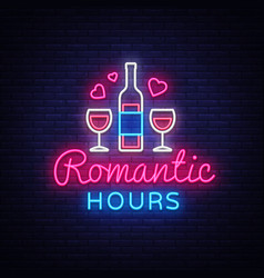 Romantic dinner neon sign romantic hour vector