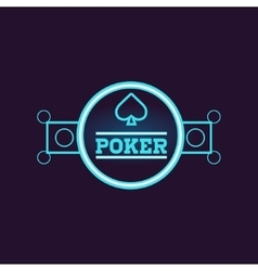 Round Blue Poker Neon Sign vector