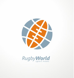 ruglogo with globe shape and rugball vector image