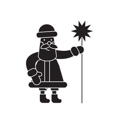 santa claus with a wand black concept icon vector image