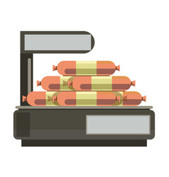 Sausages meat on store counter weigth scales vector