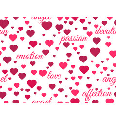 seamless pattern with hearts and words of love vector image