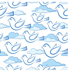 Seamless with birds in sky vector
