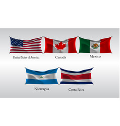 set flags of the americas waving flag of united vector image