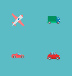set of auto icons flat style symbols with airplane vector image