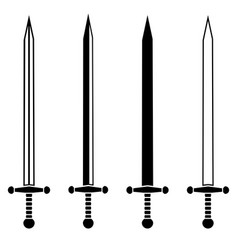 set of knight swords vector image