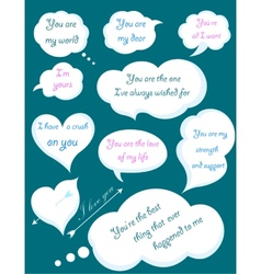 Set of romantic clouds with declarations of love vector