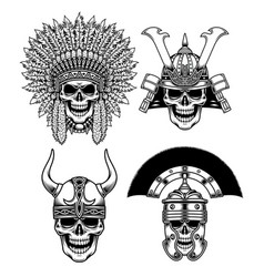 set of warrior skull characters vector image