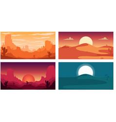 set poster template with wild desert landscape vector image
