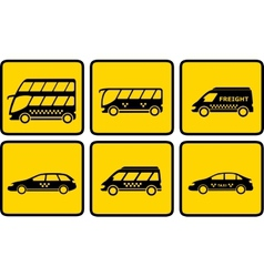 set yellow passenger transport icon vector image