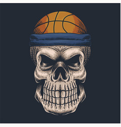 skull basketball vector image