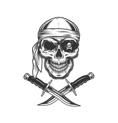 Skull in bandana and eye patch vector