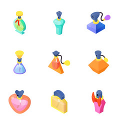 Smell of perfume icons set isometric style vector