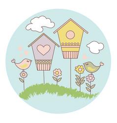 spring bird cartoon set vector image
