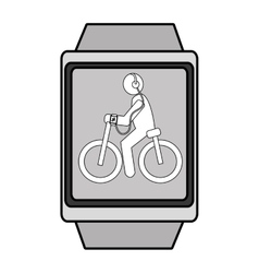 Square watch with cartoon human working out vector