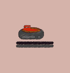Stone for curling sport game in hatching style vector