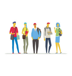 Students - flat design style colorful vector