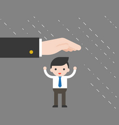 Supporter big hand protect tiny businessman from vector