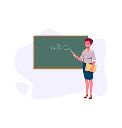 teacher with pointer shows on blackboard a vector image
