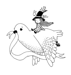 The story of the dove fairy girl rabbit and a vector