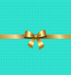 Tied gold bow with ribbon in center of pink vector
