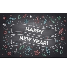 Trendy ribbon and text Happy New Year vector image