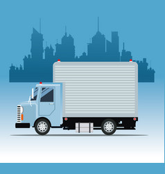truck commercial service urban background vector image