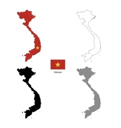 Vietnam country black silhouette and with flag on vector image