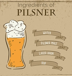 Vintage of card with recipe of pilsner beer vector