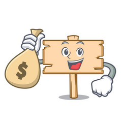 with money bag wooden board character cartoon vector image