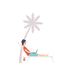 Young man lying on hammock with laptop remote vector
