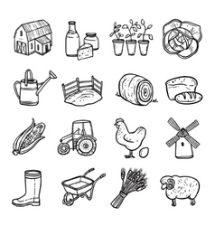 Agriculture Black White Icons Set vector image vector image