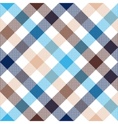 Blue beige diagonal check seamless fabric texture vector image