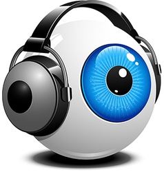 Eyeball with headphones on vector image vector image